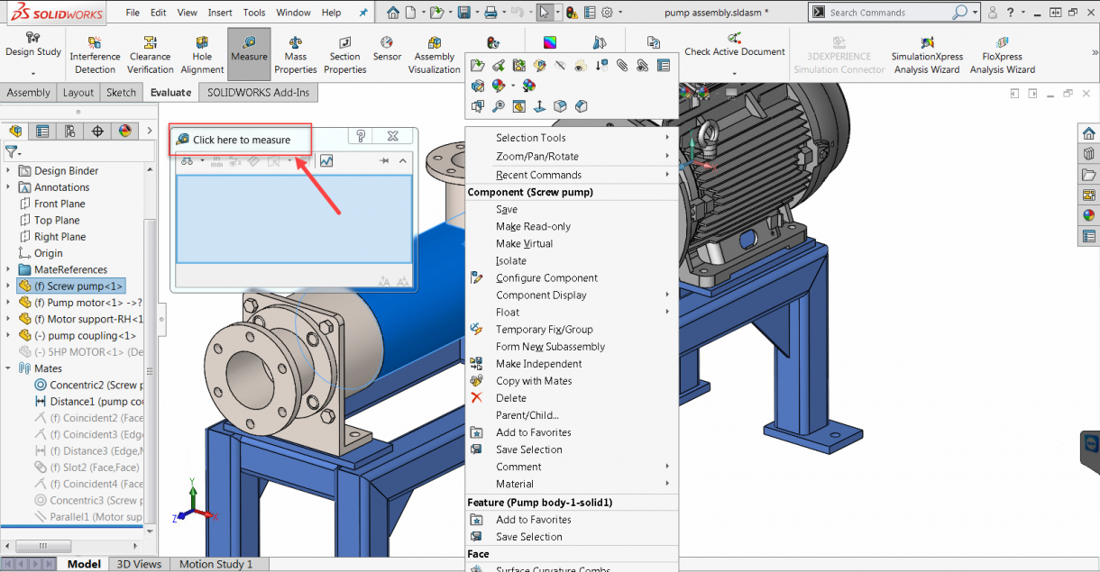 SOLIDWORKS 2019 Activate Measure Tool Dialog