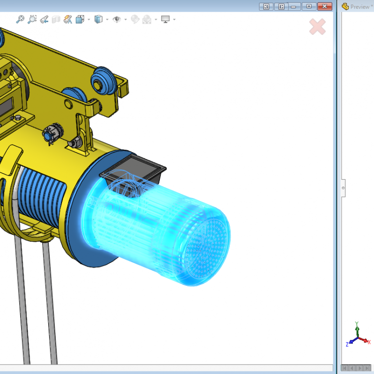 The Defeature Preview Window rotates and zooms with the SOLIDWORKS viewport, making it easy keep tabs on the simplification process