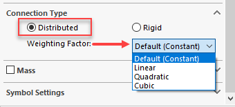 SOLIDWORKS 2019 Remote Loads / Mass Type