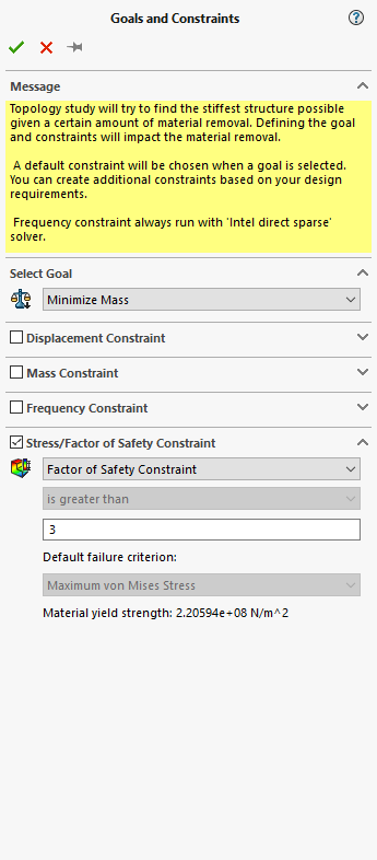 SOLIDWORKS Simulation 2019 Topology Factor of Safety Constraint
