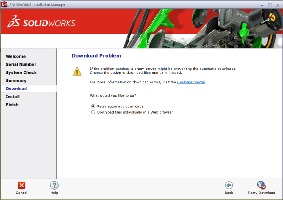 SOLIDWORKS Failed Download Warning