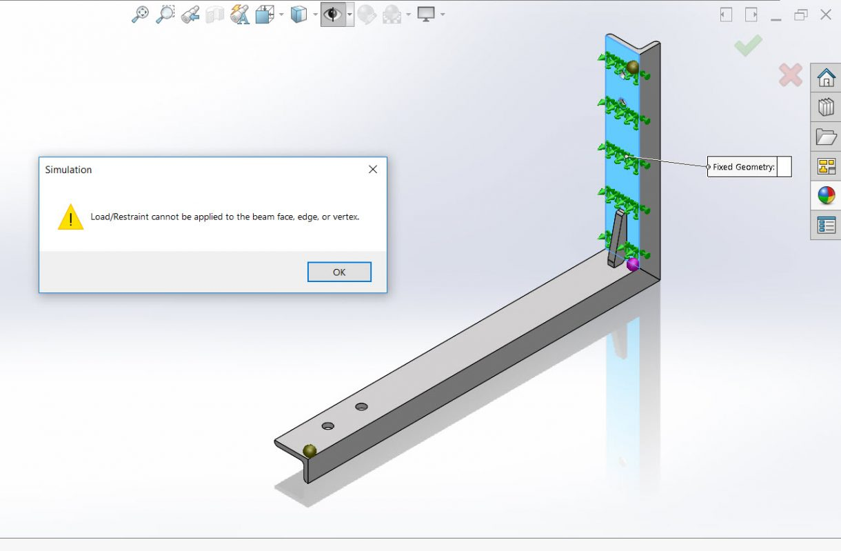 This can happen when you are dealing with Static Simulation on Weldments