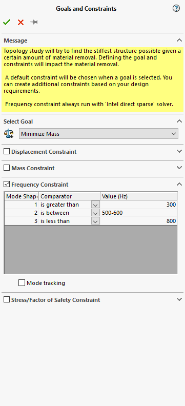 SOLIDWORKS Simulation 2019 Topology Frequency Constraint