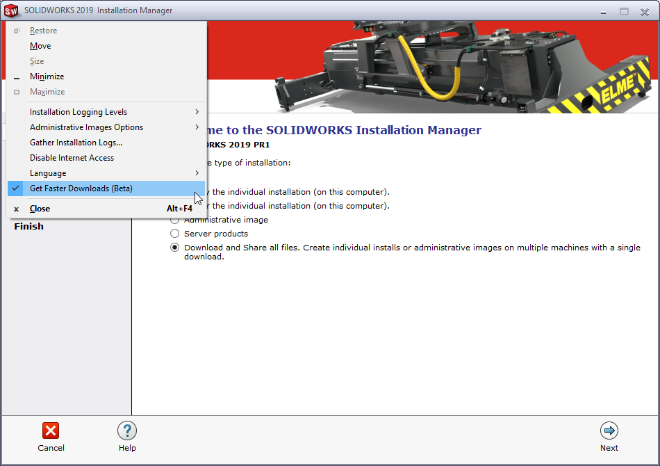 SOLIDWORKS 2019 Get Faster Downloads Option