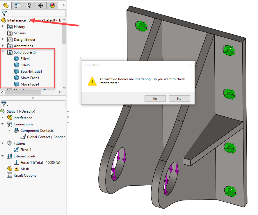 SOLIDWORKS Simulation Interference Detected