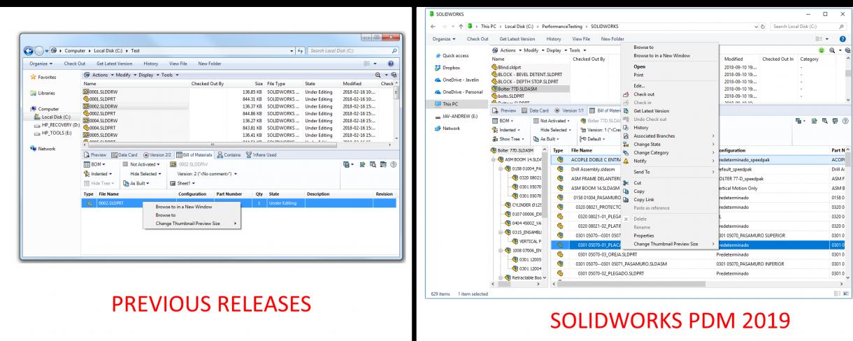 SOLIDWORKS PDM 2019 File Shortcut Menu