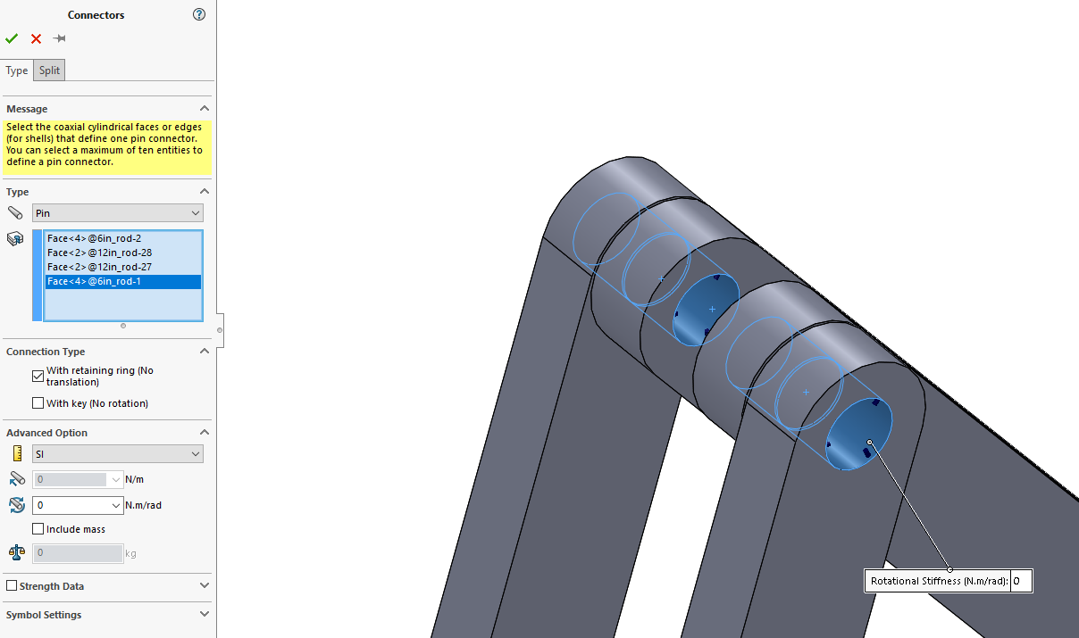 SOLIDWORKS Simulation Nonlinear Pin Connector
