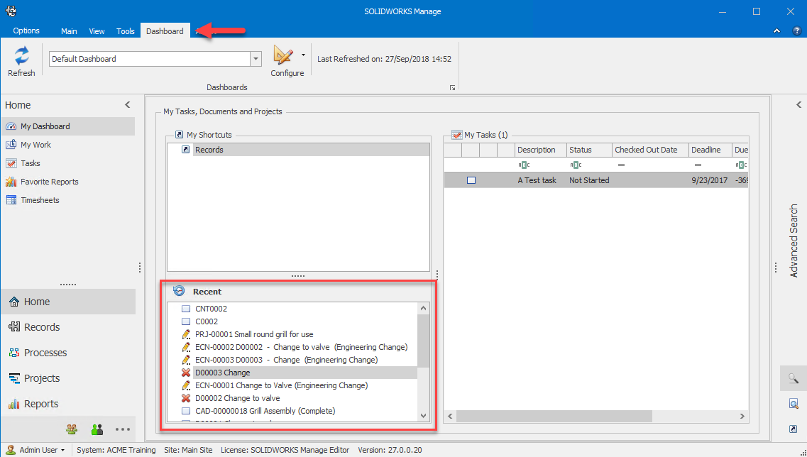 SOLIDWORKS Manage Recent Documents in the Dashboard