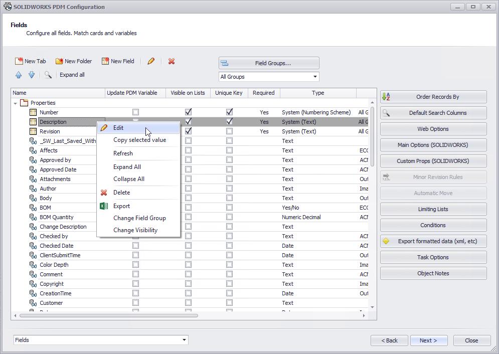 SOLIDWORKS Manage PDM Variables