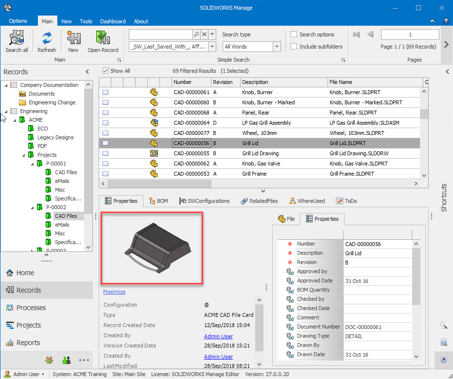 SOLIDWORKS Manage Thumbnail Images in the Main Grid