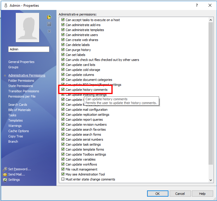 SOLIDWORKS PDM Update History Comments Permission