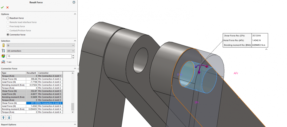SOLIDWORKS Simulation 2019 Pin Connector Force Directions