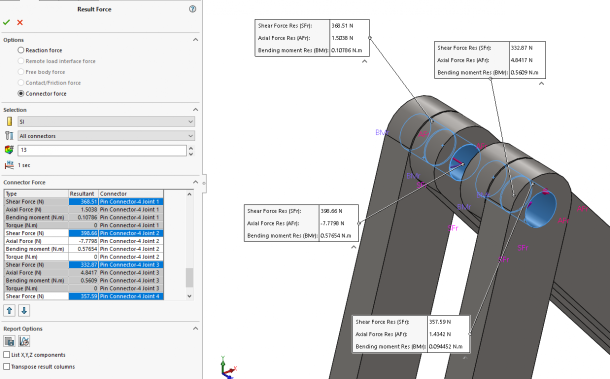 SOLIDWORKS Simulation 2019 Pin Connector - Result Connector Force
