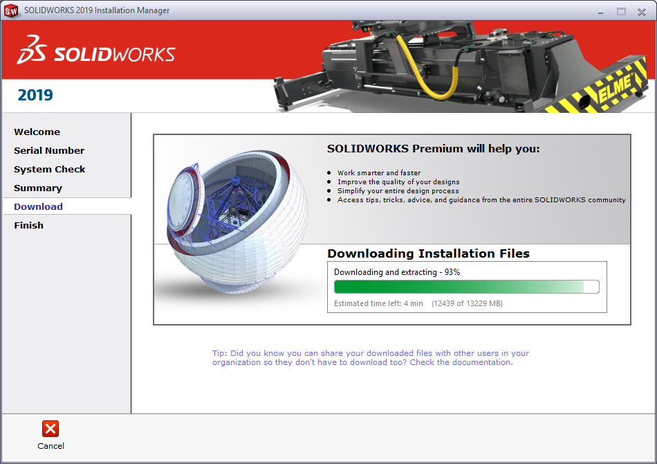 SOLIDWORKS 2019 Download Manager