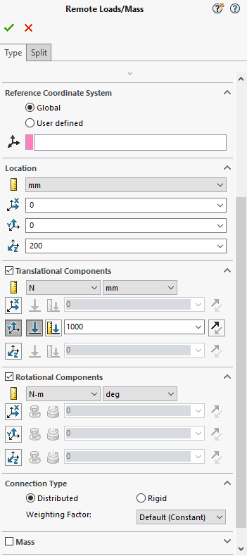 SOLIDWORKS Remote Loads / Mass PropertyManager