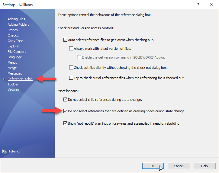 Do not select references that are defined as drawing nodes during state change