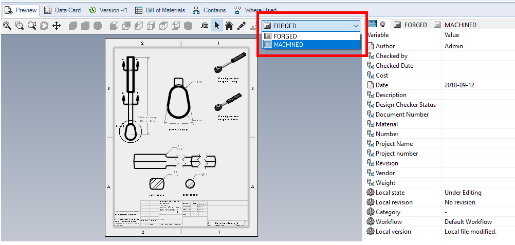 SOLIDWORKS PDM Sheet Preview Tab List of Drawing Sheets