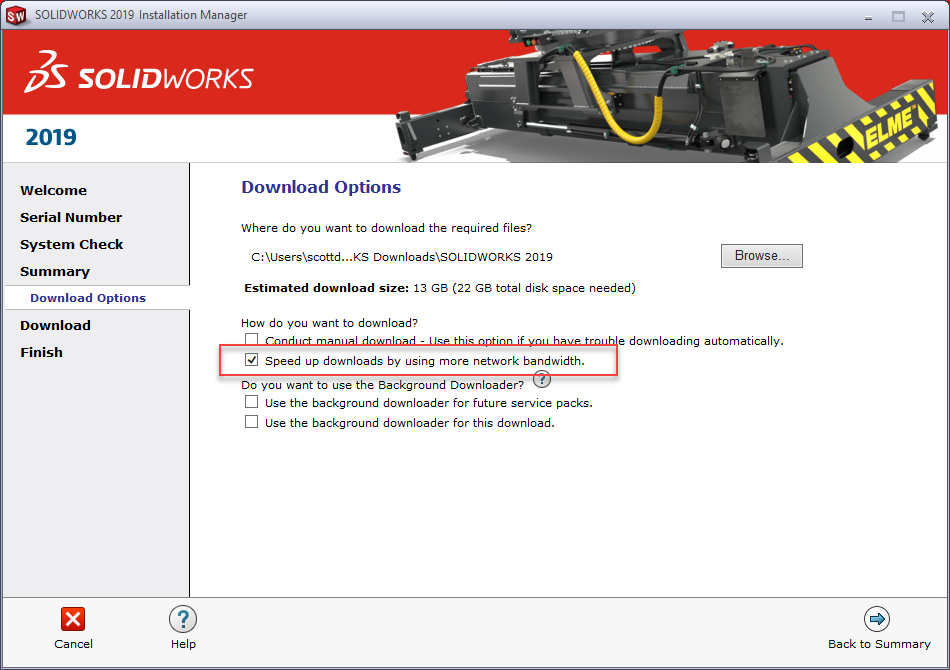 SOLIDWORKS Installation Manager Download Options