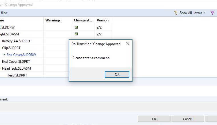 SOLIDWORKS PDM User Comment Permissions