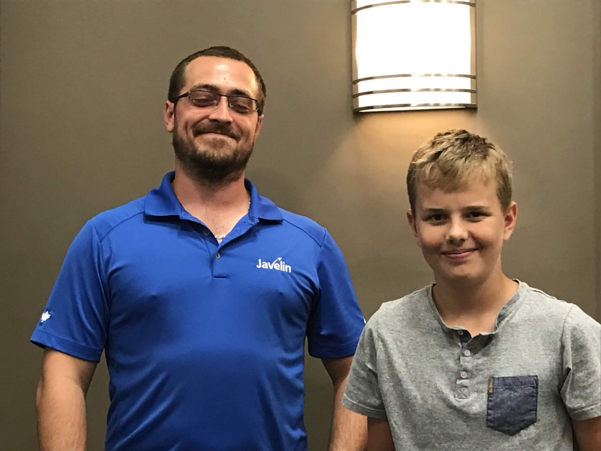 Javelin instructor Jamie Hill with Young Inventor Jeffrey