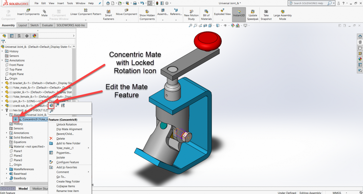 SOLIDWORKS Toolbox Lock Rotation