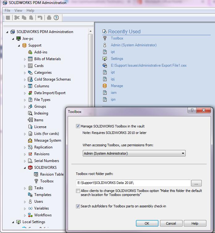 SOLIDWORKS PDM Standards Database Error SOLIDWORKS PDM Admin Permissions