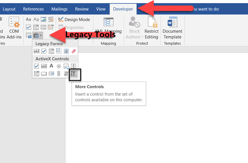 Accessing Developer Tab in MS Word