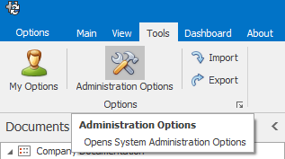 Accessing Administration Options