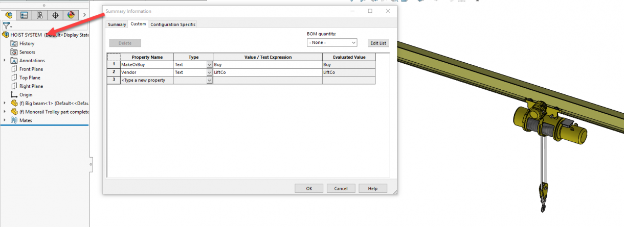 SOLIDWORKS Assembly File Custom Properties