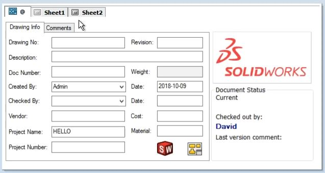 SOLIDWORKS PDM Drawing Data Card