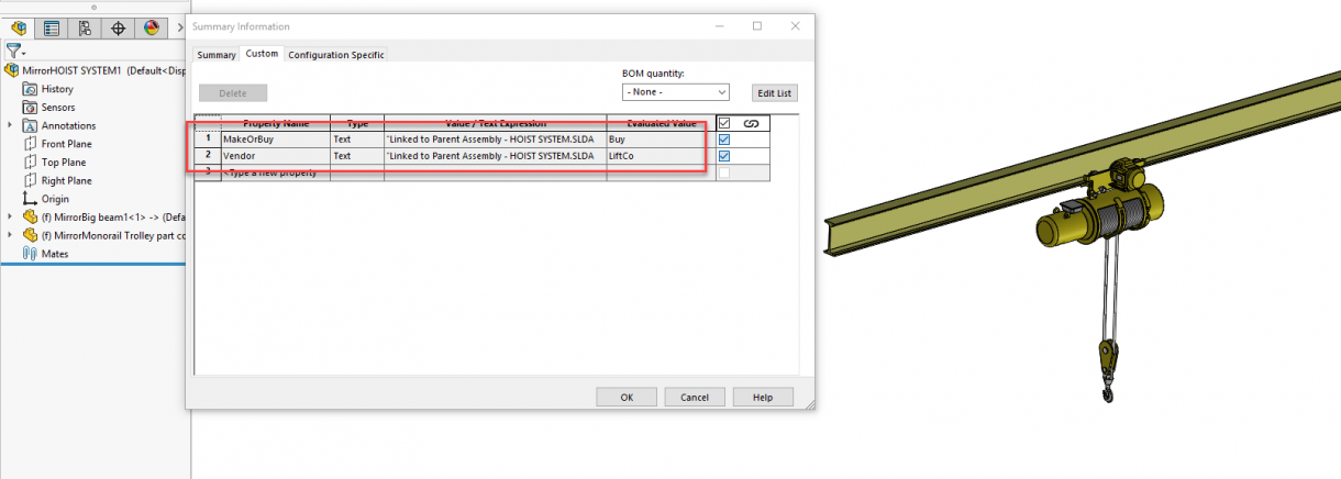 SOLIDWORKS 2019 Linked Properties for Opposite-Hand Version Assembly Files