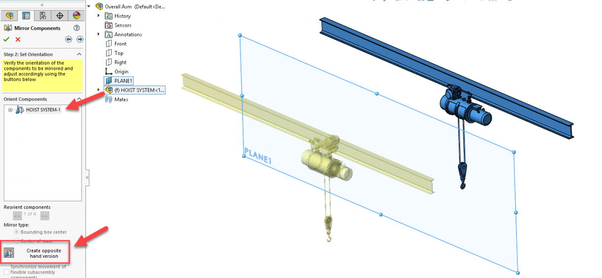 SOLIDWORKS Mirrored Sub-assembly as Opposite-Hand Version