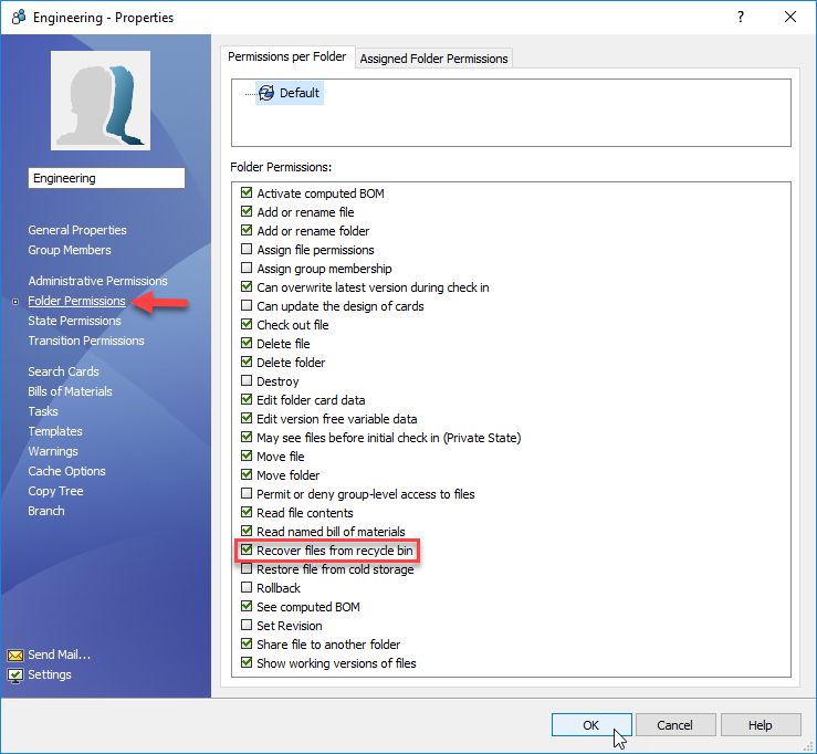 Recover files from recycle bin permission