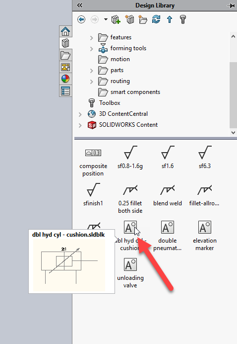 SOLIDWORKS 2018 Blocks in Design Library