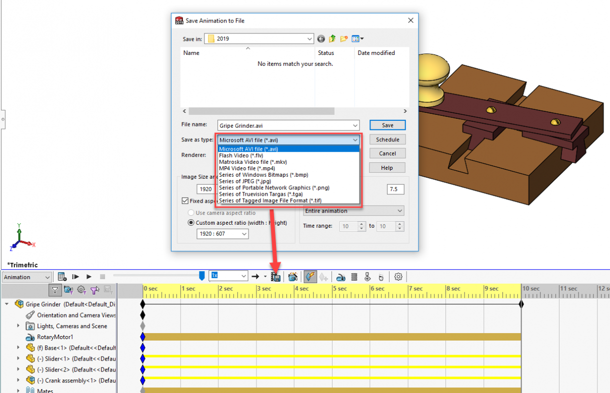 SOLIDWORKS 2019 Animation Output File Types