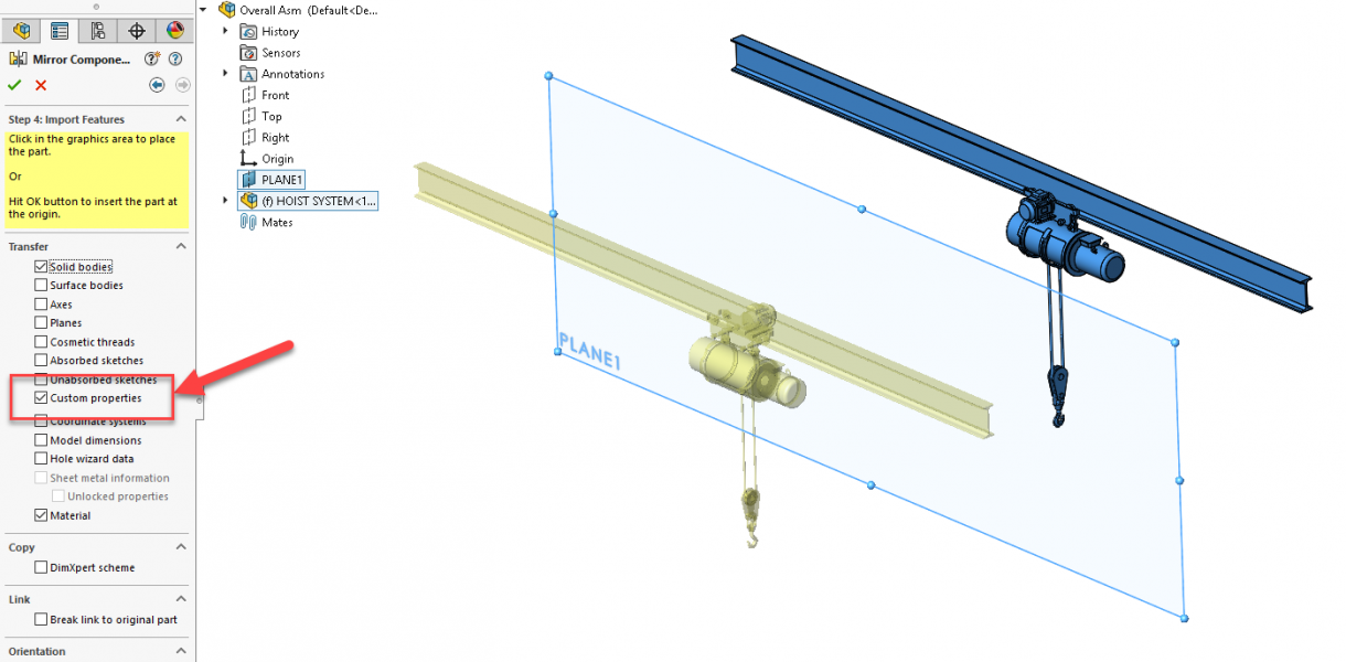 SOLIDWORKS 2019 Mirror Assembly - Transfer Custom Properties
