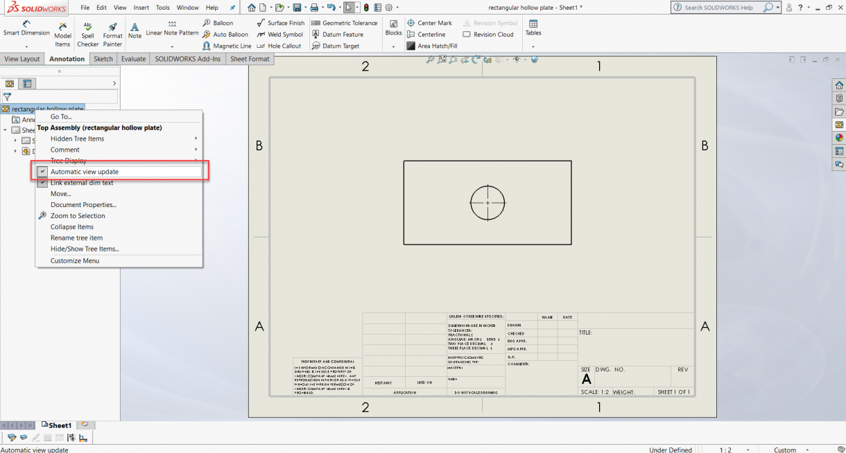 SOLIDWORKS Automatic View Update Option