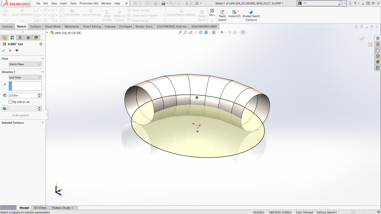 Applying a circular cut for sheet metal flattening