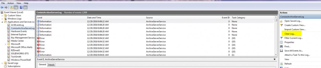 SOLIDWORKS PDM Archive Server Clear Log