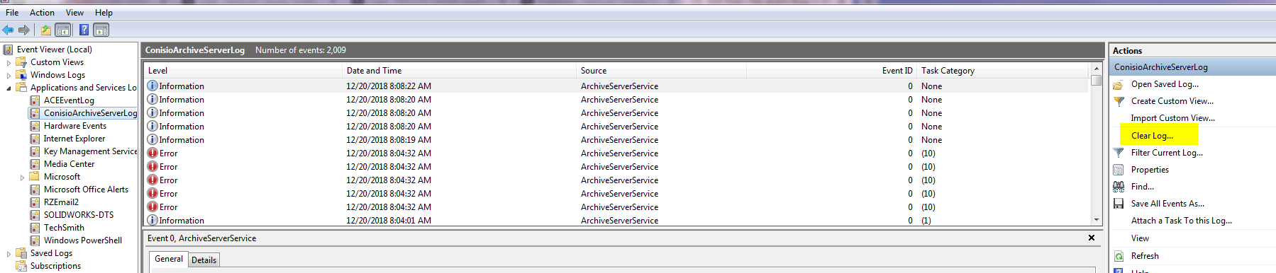 Clearing the SOLIDWORKS PDM Archive Server Log