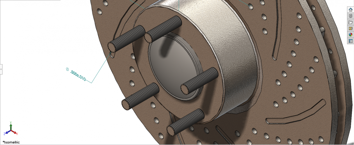 This is a close up of the studs on a disk brake assembly