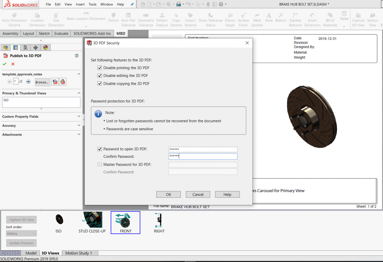 SOLIDWORKS MBD PDF Security Settings