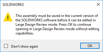 SOLIDWORKS 2019 Large Design Review - Save in current version