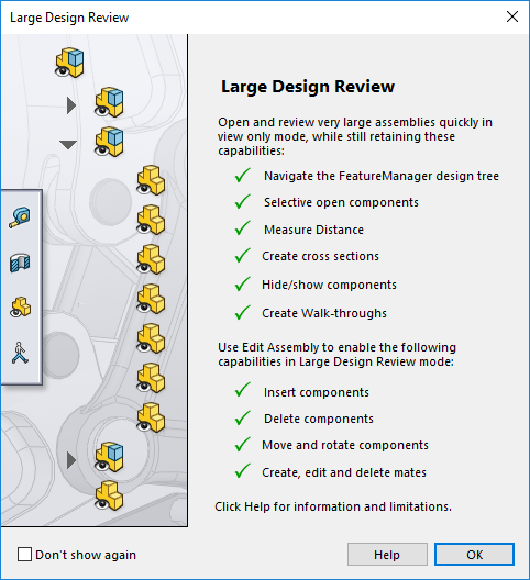 SOLIDWORKS 2019 Large Design Review Capabilities