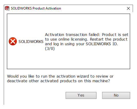 SOLIDWORKS Product Activation Fail Error