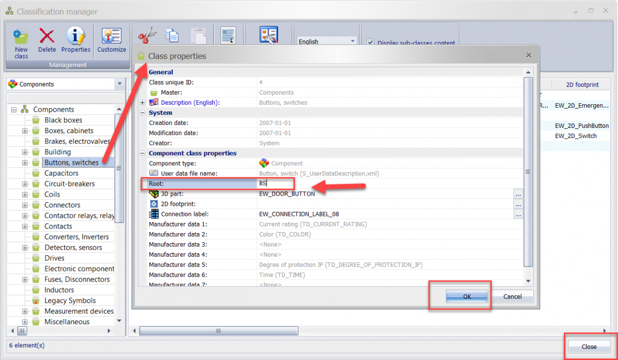 Updating SOLIDWORKS Electrical Root field in Library