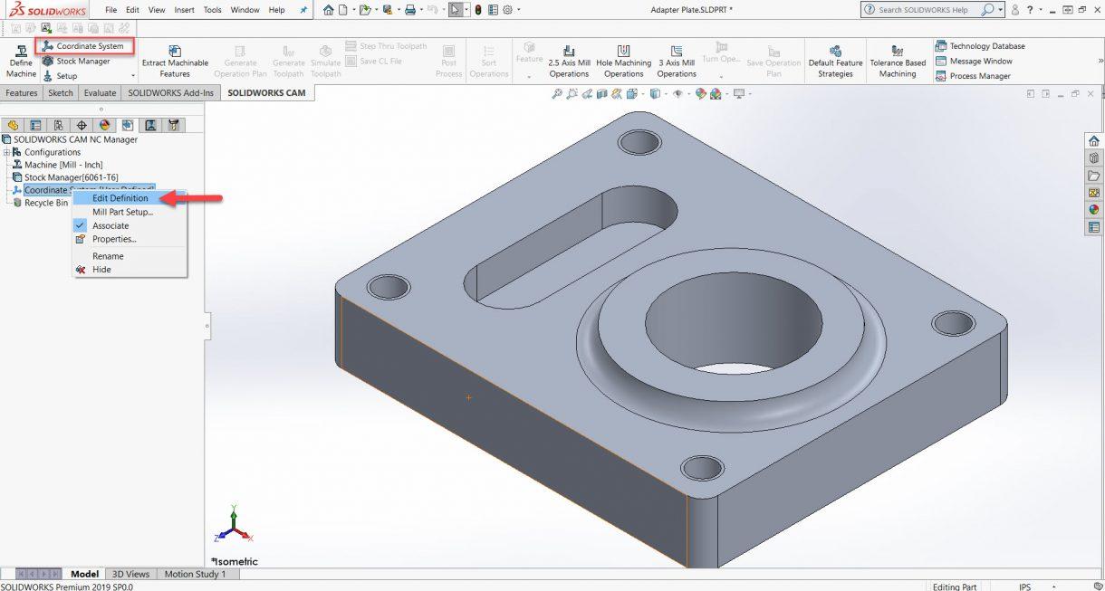 Coordinate System Setup for CNC Milling