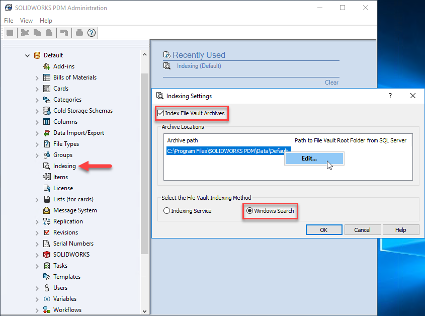 Ensure Windows Search is selected for the Indexing Method