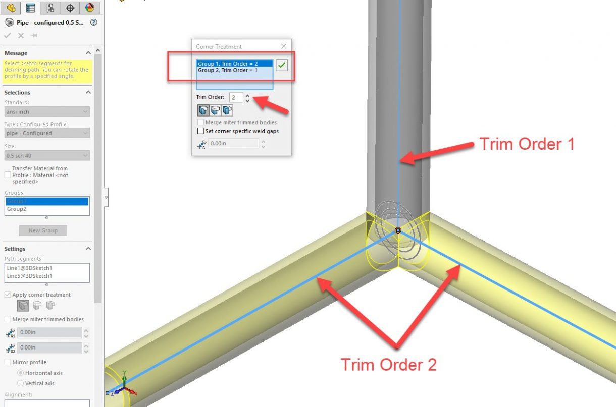 SOLIDWORKS Weldment Trim Order Switched