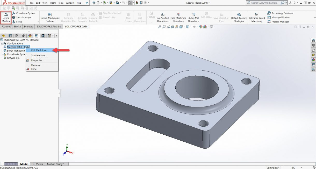 Define Machine in SOLIDWORKS CAM